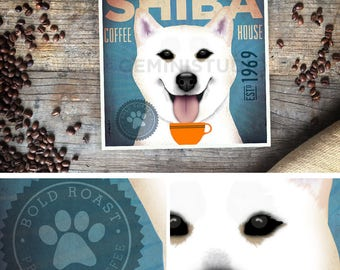 White Shiba Inu Coffee company graphic illustration signed artist's print by stephen fowler Pick A Size
