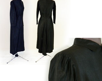 Awesome Edwardian Antique Dress 1900s 1910 Black Silk Simple but Elegant, French? Gorgeous Goth Girl Long Button Front with Front Detail