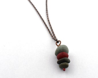 Stacked River rock necklace with red recycled glass