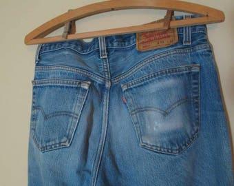 Faded 501 Levis Vintage Blue denim button front Levis Distressed 501 US made workwear Levis Levis 501 Boyfriend Levi jeans 33 34