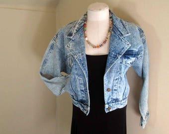 Acid Wash 80s Blue Denim Jacket Nordstrom Brass Plum Cropped 80s acid wash denim Jacket cropped 80s denim jacket Vintage Cropped Jacket M