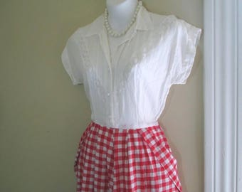 Red and White 40s vintage day dress Red Gingham check White swiss dot cotton Gingham 40s Shirtdress S