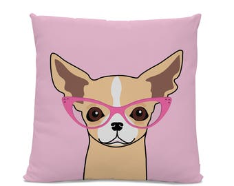 Chihuahua Pillow - Chihuahua with Glasses Pillow - Dog with Glasses Pillow - Chihuahua decor - Chihuahua gift - Funny Chihuahua Pillow