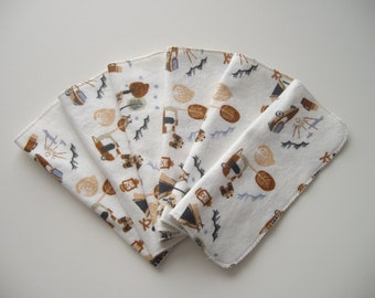 Cloth Baby Wipes Set of 6 2 Ply Flannel Basic Cloth Diaper Wipes Camping Print Reusable Flannel Wipes, Family Cloth