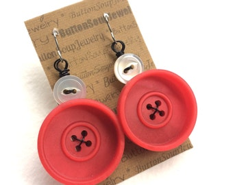 Red Vintage Button Earrings with white and black