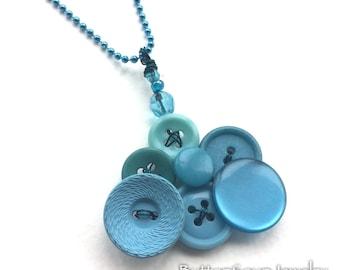 Bright Jewelry - Robin's Egg Blue Vintage Button Pendant
