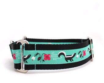 "1.5"" So Stinkin' Cute turquoise buckle or martingale dog collar"