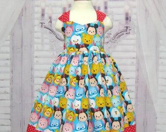 Tsum Tsum Inspired Dress, Baby Dress, Toddler Girl Dress, Red Polka Dots Dress, Red and Blue Girl Dress, Birthday Dress, Tea Time Dress