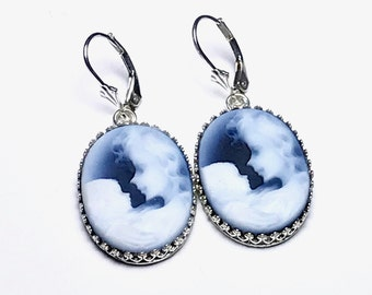 Expecting Mom Gift Handmade, Mother Child Cameo Blue Dangle Earrings, Jewelry, Mom, Unique Gift for Mom, Baby Shower Gift, New Baby Gift