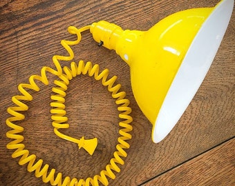 You Are My Sunshine... Vintage Sunny Yellow Mid Century Modern Industrial Shop Light Lamp