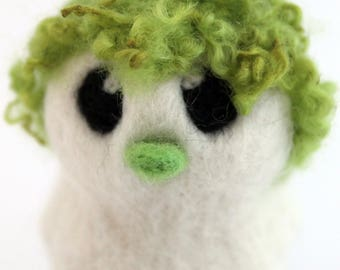 Green Hairy Bird Needle Felted White One of A Kind Bird Mossy