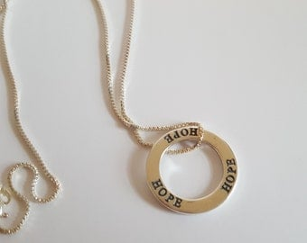 "Sterling Silver Affirmation Ring ""Hope"" Necklace"
