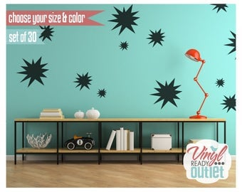 Bursts Vinyl Wall Decals - Set of 30 - Pick your Size & Color!