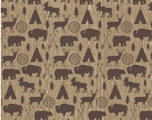 High Adventure fabric, Deer Fabric, Bear, Adventure Party, Lumberjack Chic, Farmhouse decor, Adventure Main in Brown/Tan, Choose the cut