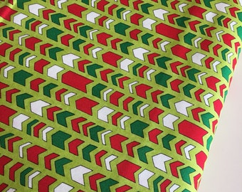 Christmas fabric, Arrow fabric, Holiday fabric, Moda fabrics, Cotton fabric by the Yard, Arrows in Green, Choose the cut
