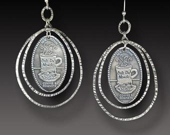New Orleans French Quarter Sterling Earrings Cafe Du Monde Charm Earrings