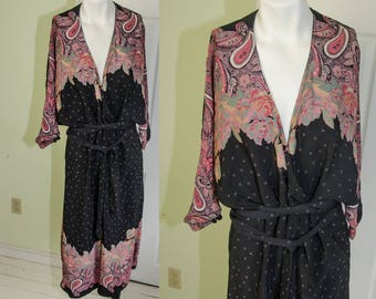 Vintage 1970's Black Crepe Paisley Print Kimono 20's Style Dress