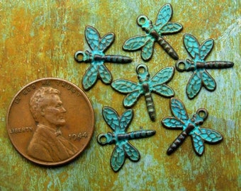 Dragonfly Charms - 6 pcs - Tiny Aged Teal Patina Dragonflies - Patina Queen