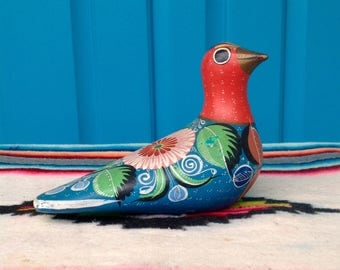 FREE SHIPPING-Vintage Colorful Mexico Tonala Bird Pottery Figurine-Mexican Folk Art Pottery-Dove-Bohemian-Hand Painted-Ethnic Decor-Daisy