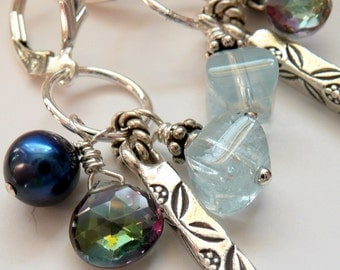 Sterling Silver Gemstone Rainbow Topaz Aquamarine Pearl Artisan Fine Silver Bar OOAK Boho Hippie Gift for Her Fun Funky Long Dangle Earrings