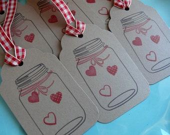 Gift Tags, Present Tags, Handmade Gift Tags, Blank Gift Tags, Mason Jar Tags, Heart Tags