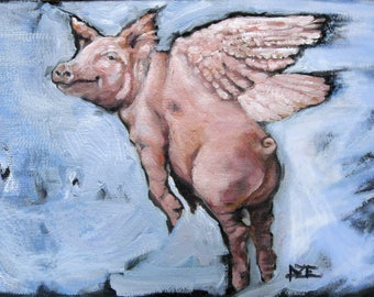 CLOUD JUMPING! Pig Art, Oil Painting, Vermont country art, DIGITAL Download 7 by 10
