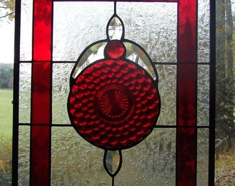 stained glass panel Ruby Frost