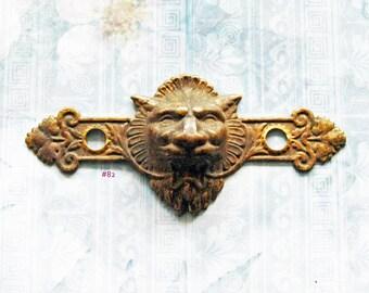Figural Lion King Escutcheon Gargoyle Antique Victorian Brass Medieval Furniture Embellishment Hardware Pull Plate