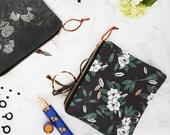 Magnolia Print Fabric Zipper Pouch