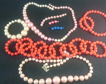 Vintage Pop Beads Necklaces and Bracelets Jewelry Set 1950's - 1960's Original