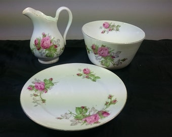 Vintage English Roses Sugar Bowl Plate and Milk or Cream Pitcher Jug 1950's Mid Century