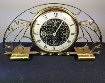 Vintage Gold Metal Mantle Clock Mid Century 1950's - 1960's  Made in Scotland