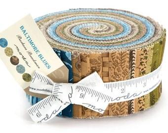 "SALE 30% Off Moda BALTIMORE BLUES Jelly Roll 2.5"" Precut Fabric Quilting Cotton Strips Barbara Brackman 8340JR"