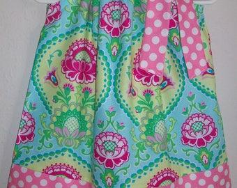 Pillowcase Dress Floral Damask Dress Aqua Lavinia by Michael Miller Kids Clothes Girls Dresses Summer Dresses Spring Dresses with Flowers