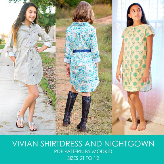 Vivian Shirtdress and Nightgown PDF Downloadable Pattern by MODKID... sizes 2T to 12 Girls included - Instant Download
