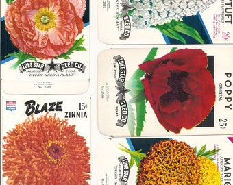 22 Old Vintage Flower Seed Packets Lone Star Seed Co. San Antonio,Texas Moon,NASTURTIUM,SNAPDRAGON,Ageratum,Jack Bean,Flower Garden Mixture