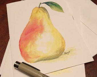 Set of 4 Notecards- Pear greeting card blank inside