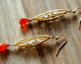 Gold Cage Earrings / Gold Orange Earrings / Modern Gold Cage Gemstone Earrings / Gold Caged Swarovski Crystals With Carnelian Gemstones