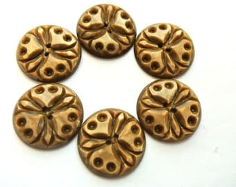 6 Buttons, antique vintage flower design 23mm, carved unique RARE buttons