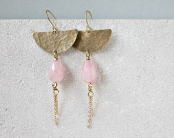 Half moon earrings, brass and rose quartz drop gemstones, boho celestial earrings