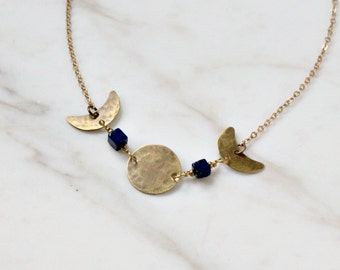 Mystic moon phases necklace, brass & lapis lazuli gemstones, Triple Goddess necklace