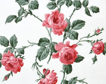 1940s Vintage Wallpaper by the Yard - Floral Vintage Wallpaper Pink Roses on White