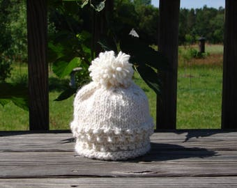 Alpaca Baby Hat Hand Knit and Hand Spun All Natural White