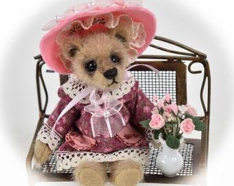 Miss Beasley – Miniature, Teddy Bear, Handmade, Stuffed Animal, Toy, OOAK, Custom Teddys
