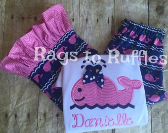 Personalized Whale Shirt &Ruffled Pants - Monogrammed Summer Whale Shirt