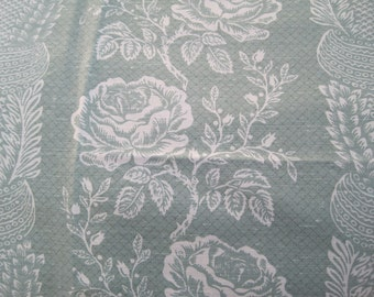 """Upholstery Drapery Fabric White on Pale Green Cotton Linen Blend 2 7/8 Yards x 54"""""""