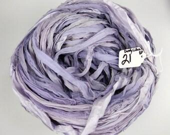 Sari silk ribbon, Silk Chiffon sari ribbon, Recycled Silk Sari Ribbon, Lilac ribbon, Hyacinth ribbon, tassel supply, weaving supply