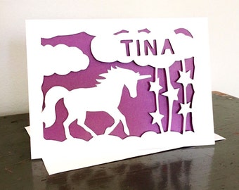 Personalized Unicorn Card Silhouette Paper Cut Greeting With Unicorn Clouds Stars And Name