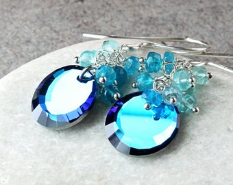 Blue Cluster Earrings  Sterling Silver Apatite Swarovski Crystal Earrings  Gemstone Jewelry  Gem Stone Birthday Gift