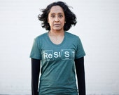RESIST graphic tee - Womens Climate Change Awareness T-Shirt in Green - environmentalist shirt - periodic table - message tee for her
